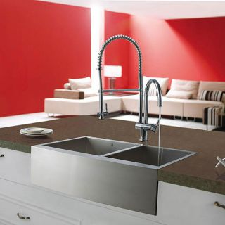 Vigo Farmhouse 33 inch Stainless Steel Two bowl Kitchen Sink and