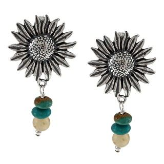 Southwest Moon Sterling Silver Sunflower Multi gemstone Post Earrings