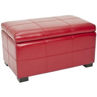 Madison Red Bicast Leather Indoor Storage Bench