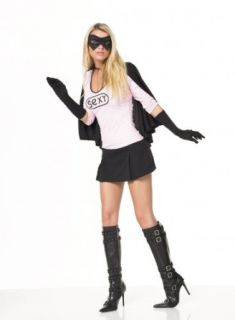 Sexy Masked Super Hero Mini Dress 4Pc Costume (Pink/Black