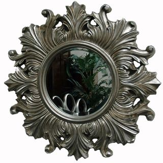 Silver Traditional Decorative Round Framed Mirror