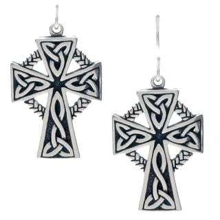 CGC Sterling Silver Large Celtic Cross Earrings (17 mm W x 37.15 mm H)