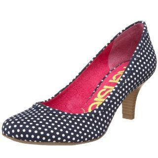 kensiegirl Womens Lisa Cotton Round Toe Pump,Navy/White,6 M US Shoes