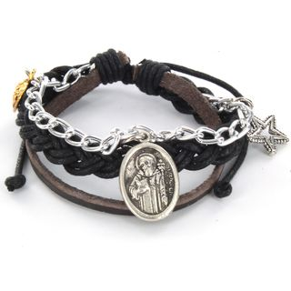 Braided Leather St. Benedict Charm Bracelet