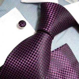 Black Checkered Woven Silk Tie Hanky Cufflinks Gift Box