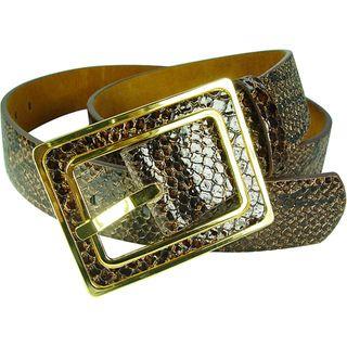 Vecceli Italy Womens Brown 1.5 inch Snake skin Embossed Cowhide Belt