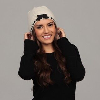 Portolano Womens Ivory/ Black Cashmere Bow Hat