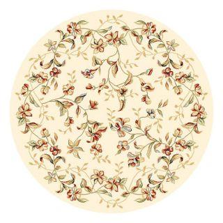 Lyndhurst Collection Floral Beige Rug (4 11 Round)