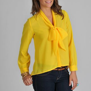 Pink Collection Womens Bow tie Yellow Blouse