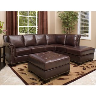 Abbyson Living Glendale Premium Top grain Leather Sectional Ottoman