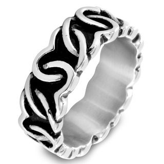 Stainless Steel Continuous Interlocking Heart Ring