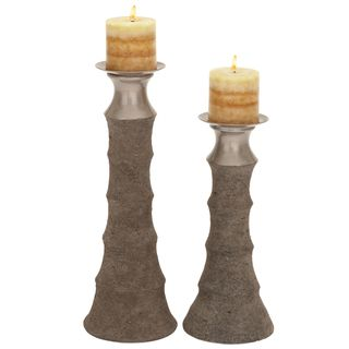 Del Mar Solid Ceramic Pillar Candle Holders (Set of 2)