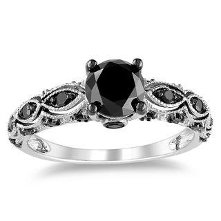 Miadora 14k White Gold 1 1/4ct TDW Black Diamond Ring