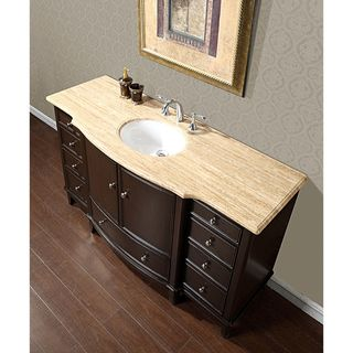 Silkroad Travertine Stone Top 60 inch Dark Walnut Bathroom Single Sink