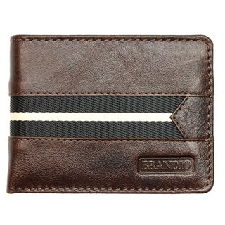 Brandio Fashion Mens Leather Wallet Bi fold in Brown Black Design