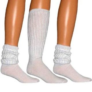 White All Cotton 3 Pack Extra Heavy Super Slouch Socks
