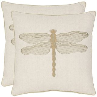 Dragonfly 18 inch Cream/ Green Decorative Pillows (Set of 2