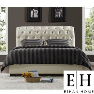ETHAN HOME Castela Soft White Faux Leather Queen size Bed
