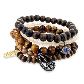 Brown Bead Peace, Evil Eye, and Feather Charm Stretch Bracelet Set