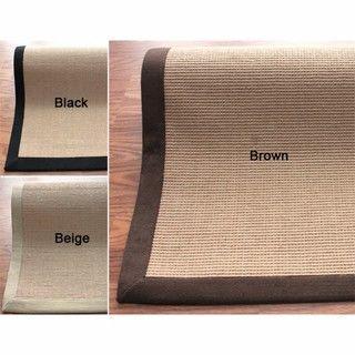 Handmade Alexa Eco Natural Fiber Cotton Border Jute Rug (9 x 12