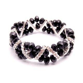 Jet Black Crystal and Rhinestone Stretch Bracelet