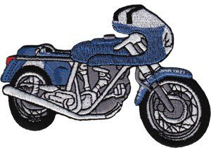 Novelty Iron on Patch   Blue White Cafe Racer Motorcycle