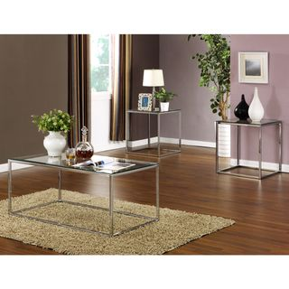 piece High Gloss Chrome Finish Cocktail End Tables Set