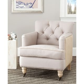 Manchester Two toned Linen/ Jute Beige Club Chair