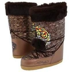 Ed Hardy Womens Big Bear Faux Fur Bronze Boots