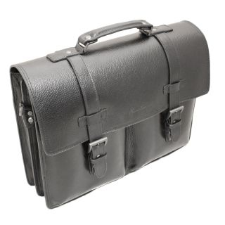 Kenneth Cole New York Port It Out Black Leather Flap over Briefcase