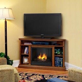 Churchill Real Flame Oak Finish Gel Corner Fireplace