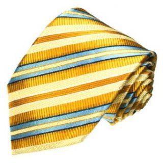 LORENZO CANA Luxury Italian Pure Silk Tie Gold Yellow Blue