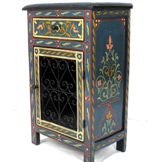Handpainted Green Arabesque Wooden Storage/End Table (Morocco