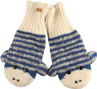 DeLux Cute Sock Monkey Blue and Grey Striped Wool Animal