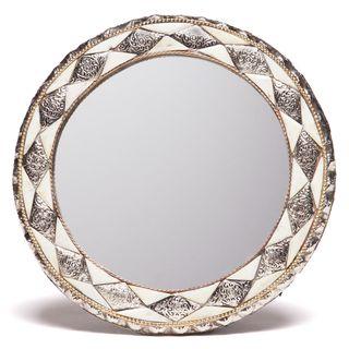 11 Inch Round Hand Carved Bone Mirror (Morocco)