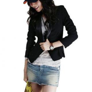 Allegra K Woman Black Shawl Collar Long Sleeve Buttoned