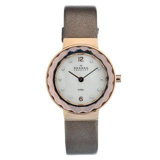 Skagen Womens Rose gold Steel Crystal Leather Strap Watch