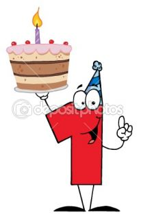 Number One Holding Up A First Birthday Cake  Foto stock © HitToon
