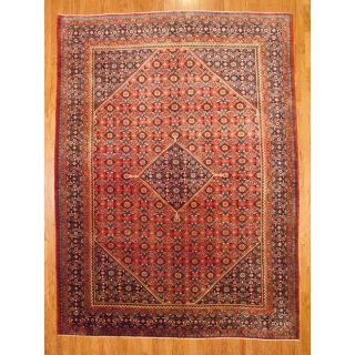 Hand knotted Red/Navy Mahal Wool Rug (10 x 135)