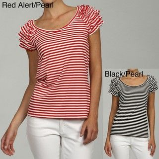 John Paul Richard Ruffle Short Sleeve Scoop Neck Stripe Top