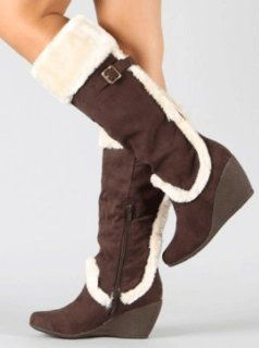 Casual Trim Buckle Brown Knee High WINTER BOOTS 6 Shoes