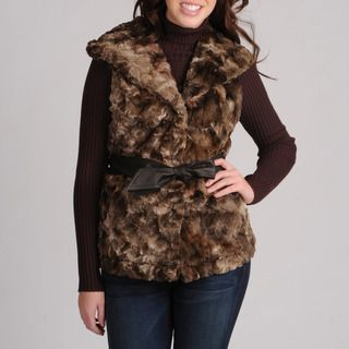 Mo Ka Womens Brown Faux Fur Vest