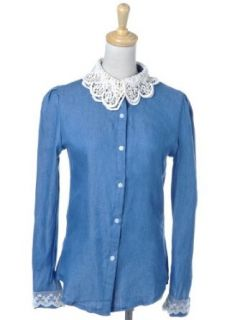 Anna Kaci S/M Fit Blue Denim L/S Button Down Shirt w Fancy