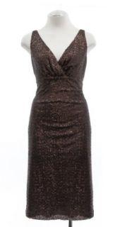 Ralph Lauren Brown Sequin V Neck Sleeveless Cocktail Dress
