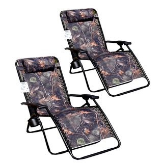 Jumbo Camo Zero Gravity Reclining Patio Chairs (Pack of 2)