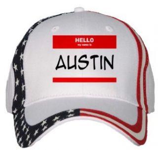HELLO my name is AUSTIN USA Flag Hat / Baseball Cap