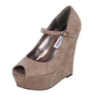 Steve Madden Womens P Sofiaa Taupe Suede Mary Jane Wedges