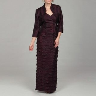 Jessica Howard Womens Eggplant Ruched Beaded Two piece Dress