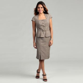Nine West Womens Espresso/ Beige Tweed Skirt Suit