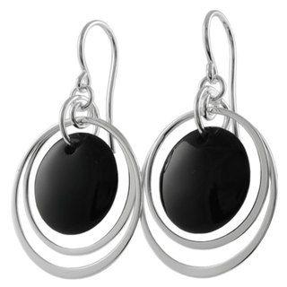 Tressa Sterling Silver Black Onyx Shepherds Hook Earrings